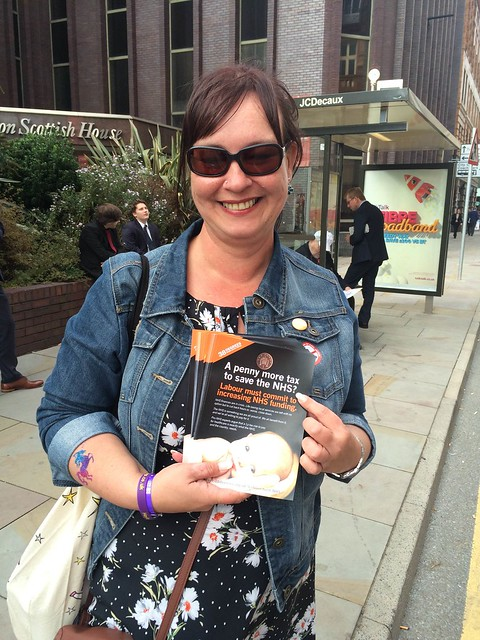 Flyering outside Labour party conference in Manchester