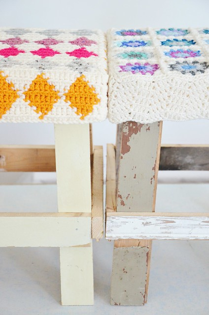 wood & wool stools cristina & claire