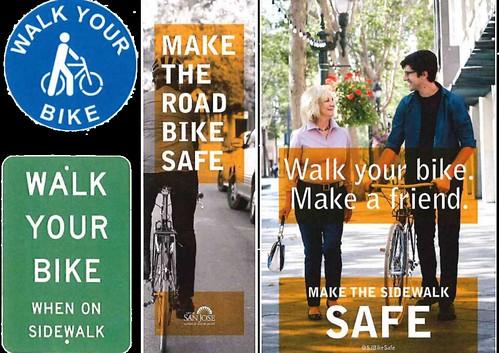 """San Jose DOT """"Walk  Your Bike"""" safety campaign"""