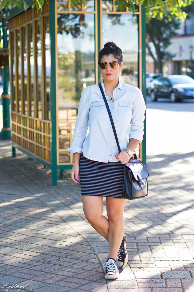 chambray shirt, striped mini skirt, converse.jpg