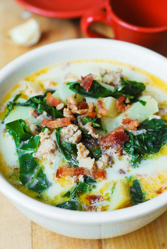 Olive garden 39 s zuppa toscana soup with swiss chard julia 39 s album for Olive garden potato sausage kale soup recipe