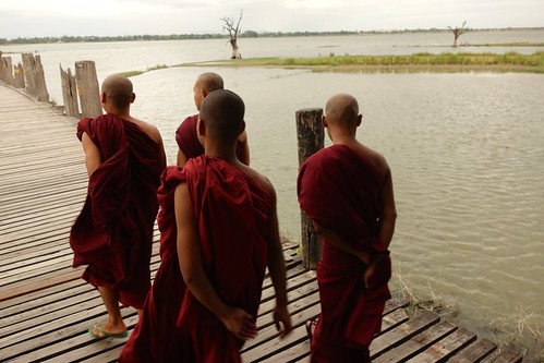 Monks walking UBein bridge