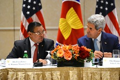 U.S. Secretary of State John Kerry listens as Burmese Foreign Minister U Wunna Maung Lwin addresses the U.S.-ASEAN Ministerial Meeting on the margins of the 69th session of the United Nations General Assembly in New York City on September 26, 2014.