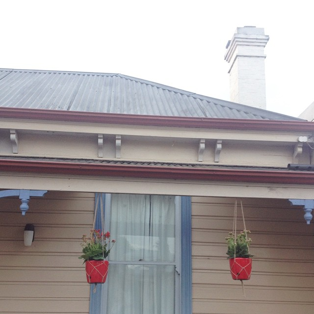 I made some hanging plant holders from twine for the kalanchoes on my verandah.