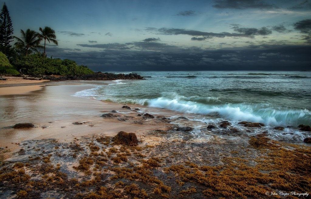 Last light over Kapaa Beach, Kauai Hawaii