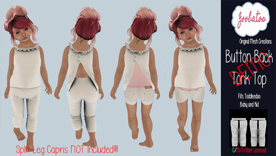 Button Back Tank Top Demo - SecondLifeHub.com