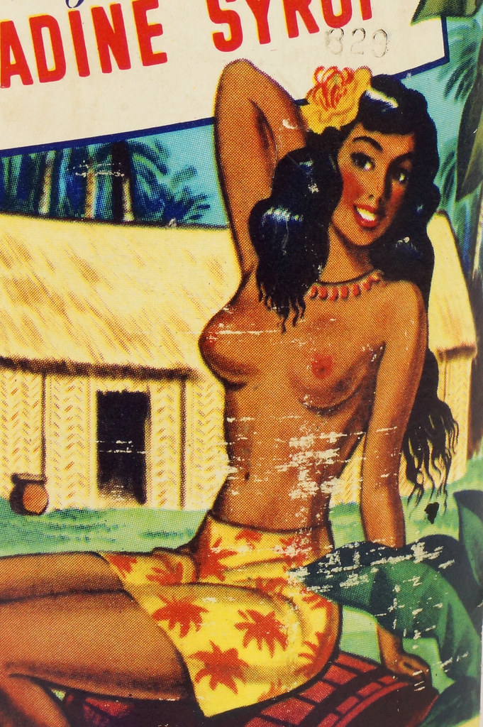 RD15320 Vintage Mid Century 1946 Bottle of Trader Vic's Pomegranate Grenadine Syrup with Topless Girl Tiki DSC09139