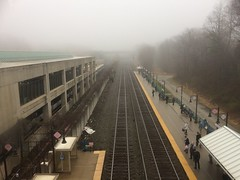 Foggy morning at the rail station
