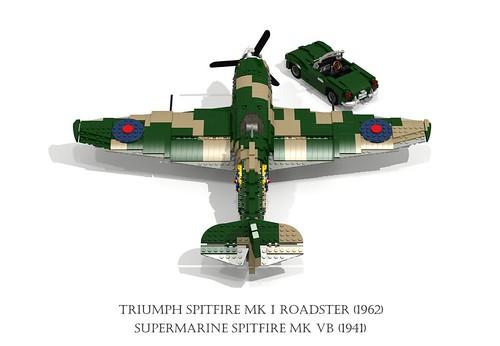Supermarine Spitfire Mk VB (1941) and Triumph Spitfire Mk I Roadster (1962)