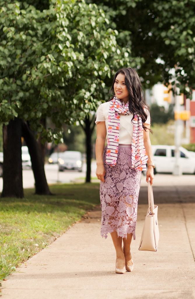 cute & little blog | petite fashion | jcrew floral stripe summer scarf, crochet lace midi skirt | summer outfit
