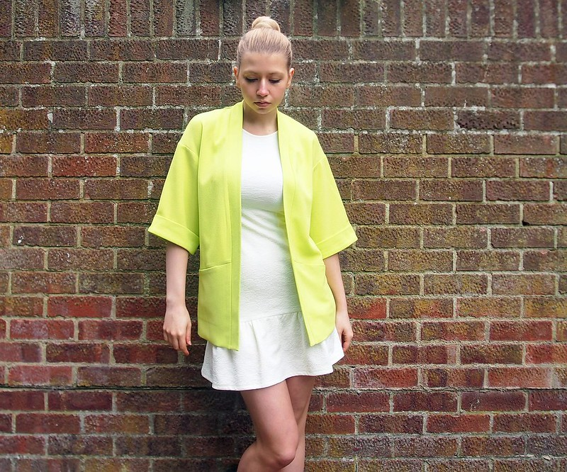 Tu, Sainsbury's, Neon, Kimono, Fluorescent, Fluoro, Lime, Yellow, Green, Blazer, SS14, Primark, Stretch, Mini Dress, Drop Waist, Pep Hem, Peplum, Textured, Jacquard, Sleeveless, '60s Style, '20s Style, '80s Style, Chanel, How to Wear, Styling Ideas, Outfit Inspiration, Style Blogger, London, Fashion Blog, UK, Sam Muses