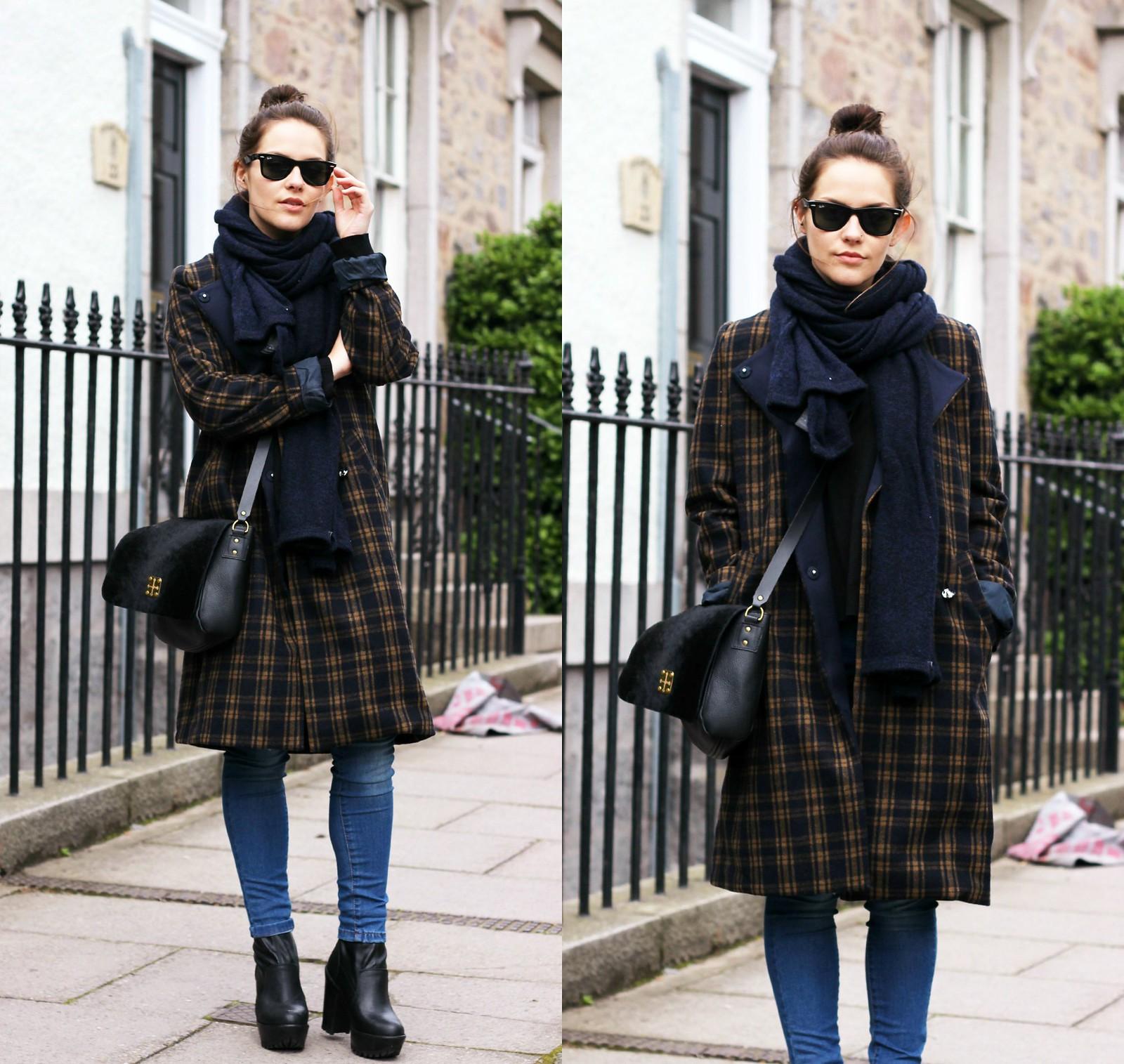 H&M long tartan coat 6