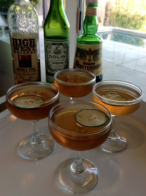 Cobble Hill (Sam Ross) with High west double rye, Dolin dry vermouth, amaro Montenegro, muddled cucumber