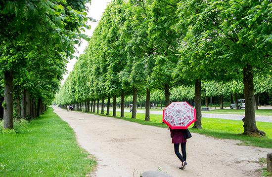 strolling through the gardens at Versailles