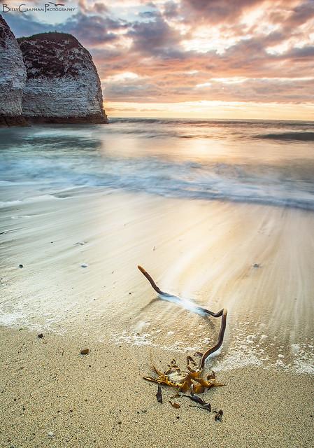 sunrise cliffs beach seaweed long exposure sea ocean waves flamborough head