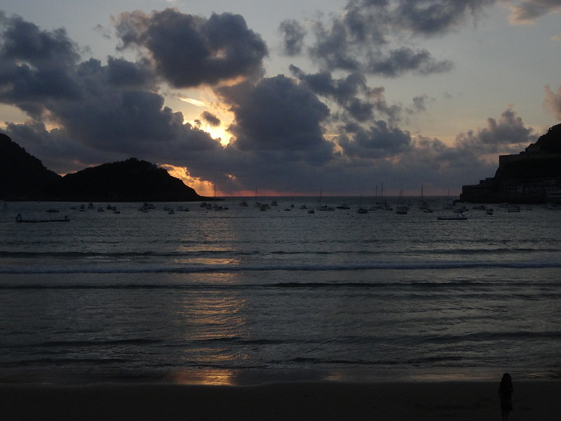 Sunset, Playa La Concha, San Sebastian.