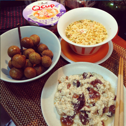 Qcup-Kimchi-&seafood-instant-noodles,-Centry-egg-with-tofu,-Longan