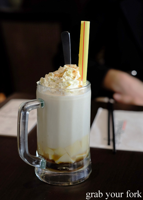 Soya milk pudding drink at Pappa Rich, Broadway