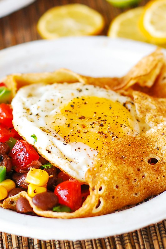 Southwestern salsa, breakfast eggs, savory crepes, eggs and beans, corn, black beans
