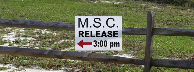 Marine Science Center release sign
