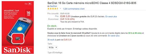 sandisk micro sdhc 16 go