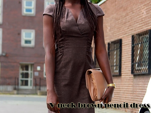 V-neck brown pencil tailored dress: work & casual wear: Street style