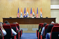 U.S. Secretary of State John Kerry and Indian Minister of External Affairs Sushma Swaraj address reporters during a news conference that followed the plenary session of a Strategic Dialogue between the two countries in New Delhi, India, on July 31, 2014. [State Department photo/ Public Domain]