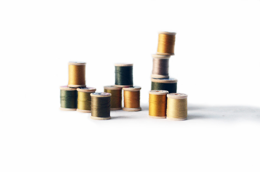 Twelve Wooden Spools with Green Gold Thread, Woodland Hues Collection