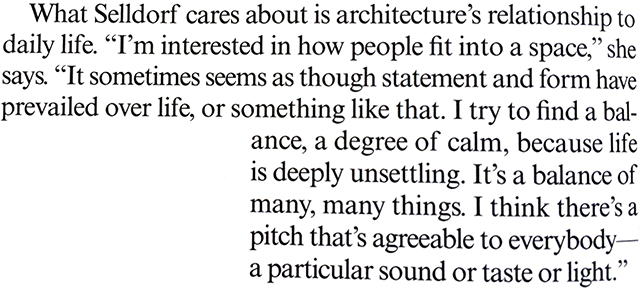 quote from interview with architect Annabelle Selldorf in Vogue magazine
