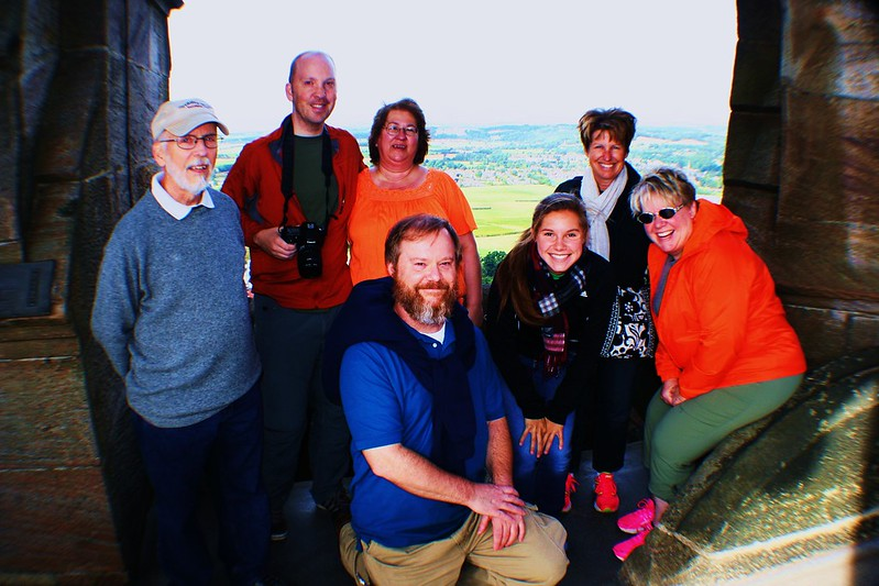 Tour Group atop Wallace Moument, Central Scotland