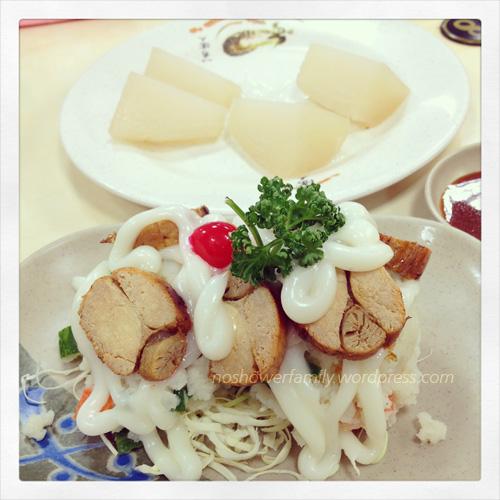 mashed potatoes with fish roe salad, Kantoni style white radish