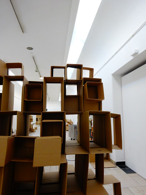 Cardboard box sculpture, art university