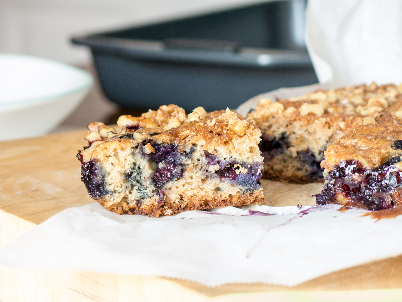 blueberry coffee cake slabcake with walnuts and basil