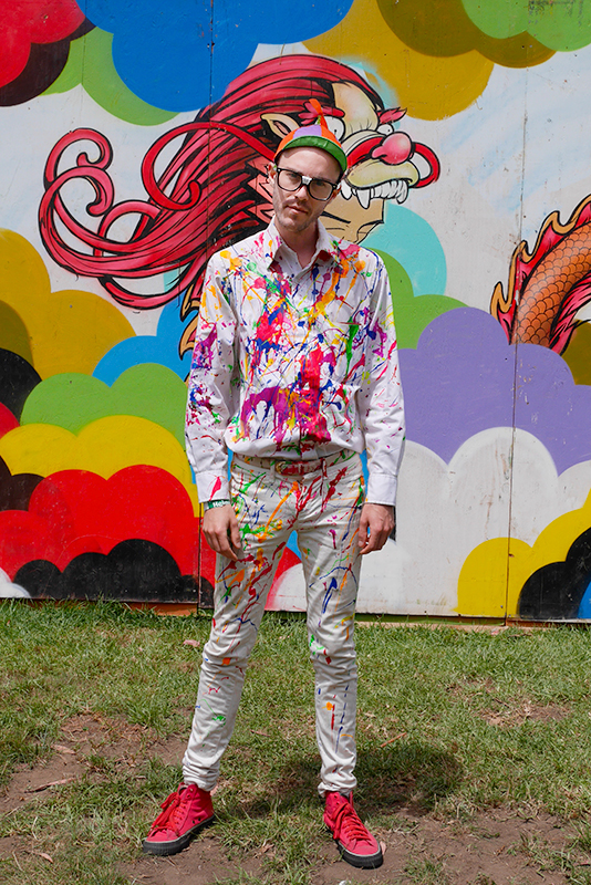 paintsplatter street style, street fashion, Golden Gate Park, San Francisco, men, Quick Shots, outside lands