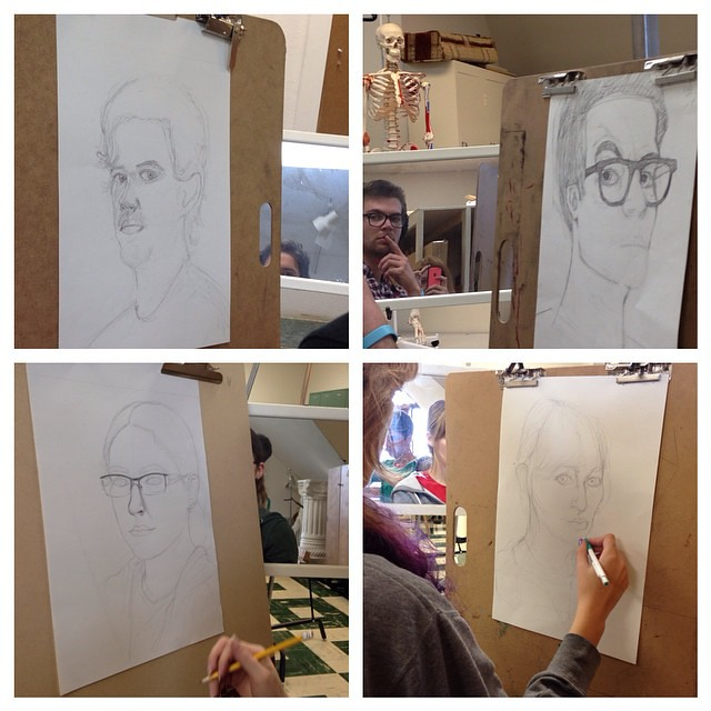 Students are working on their first self-portraits in figure drawing this week at DSU.
