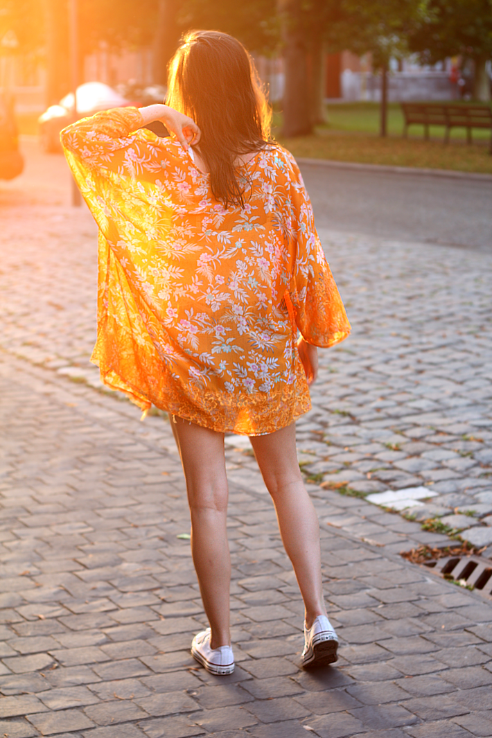 orange floral kimono white converse