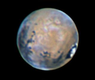 Imagen del planeta Marte obtenida con el instrumento PlanetCam desde el Observatorio de Calar Alto el pasado 7 de Abril de 2014.