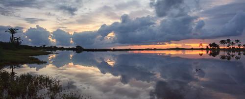 Flooded Salt Ponds at sunset