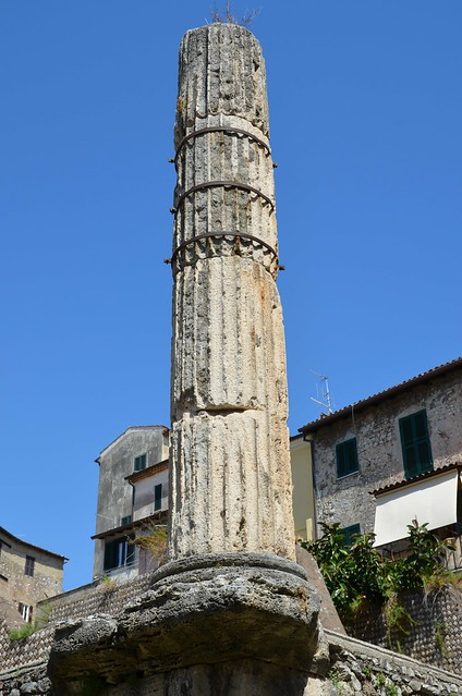 Remaining column in Tuscan-Doric style Capitolium (temple dedicated to Jupiter, Juno аnd Minerva) dating back to ca. 50-40 BC, Terracina (Anxur), Terracina, Italy