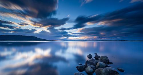 longexposure mountain lake island volcano see is iceland europa europe lac arctic nordic islande hekla laugarvatn