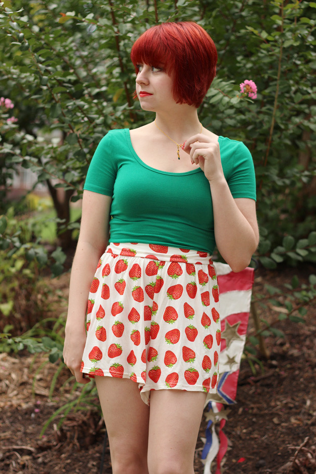 Green T-shirt with Strawberry Print Shorts