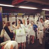 The Times Square subway was awash with white on Monday... #random #whatamimissing #latergram #commute
