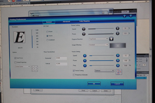 Laser cutter settings interface