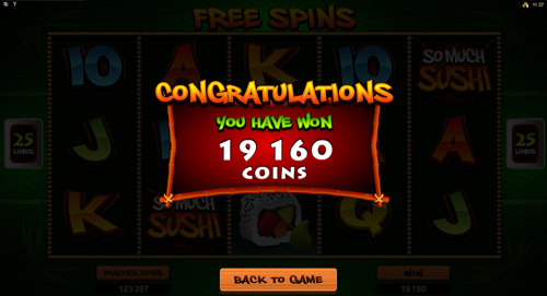 So Much Sushi Free Spins Win