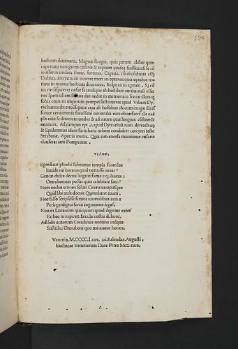Variant colophon in Leonicenus, Omnibonus: In Lucanum commentum
