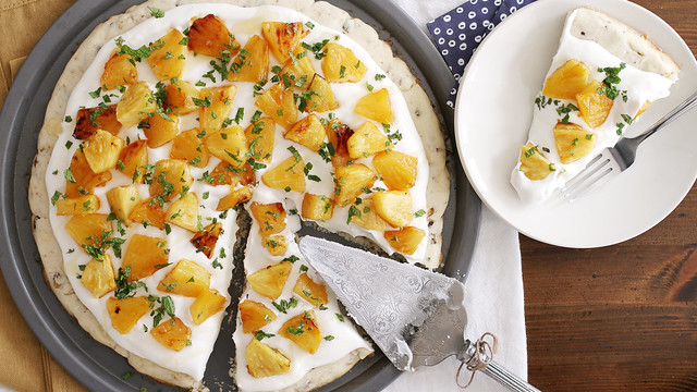 Roasted Pineapple-Pistachio Fruit Pizza | girlversusdough.com