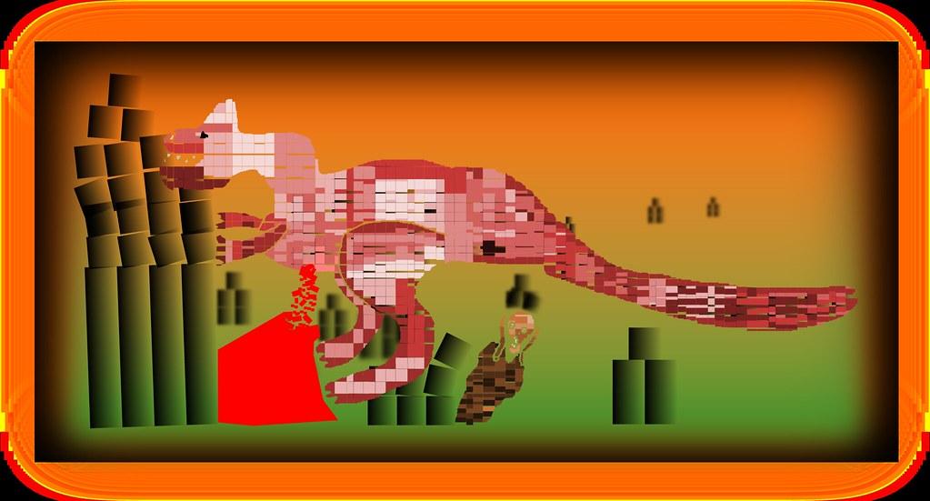 Čia su InkScape'u pats nupaišiau. Kraujuojantis dinozauras jau mirštantis griauna namus, o ten persigandęs interneto vartotojas po dinozauro kloaka.