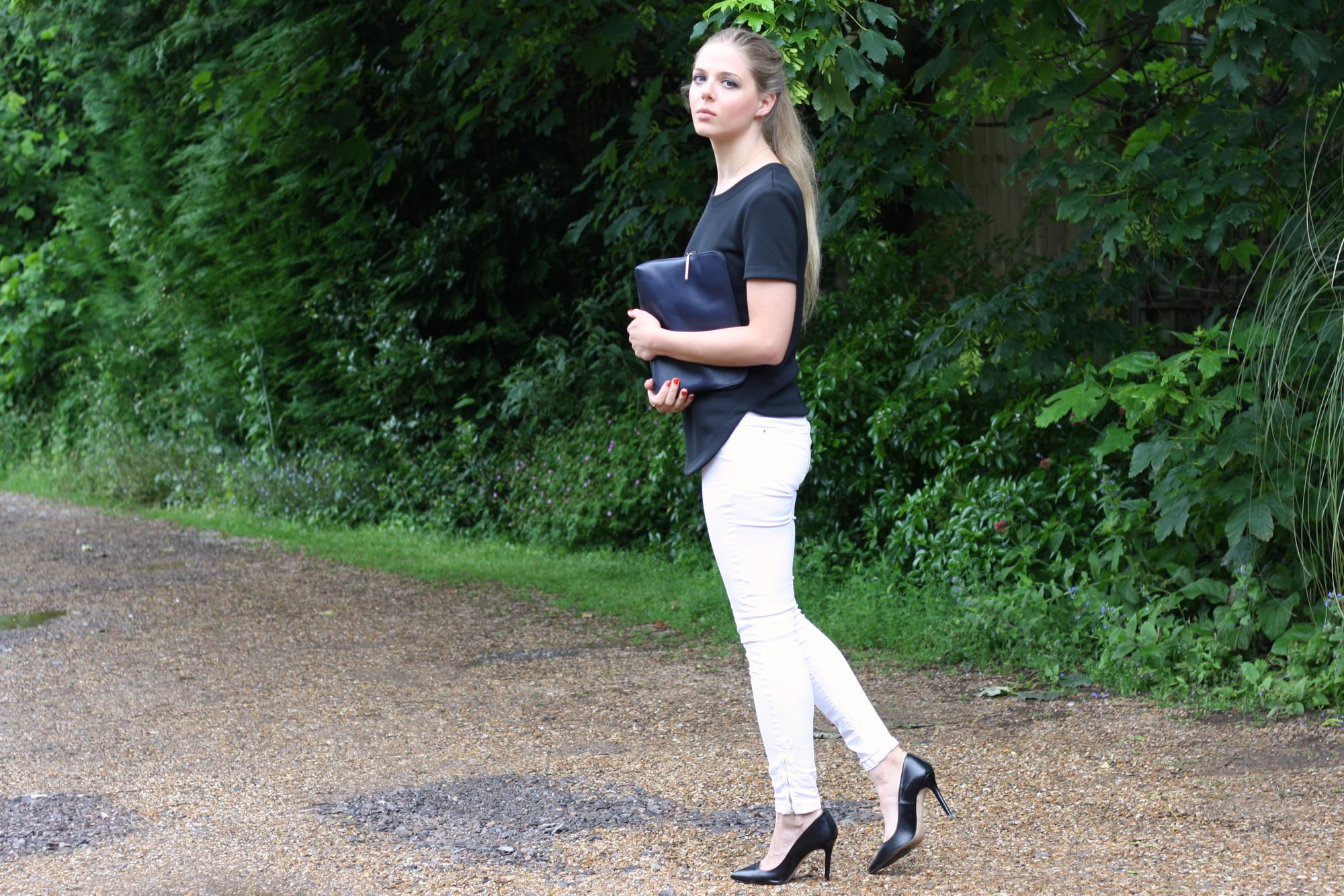 Zara black court shoes