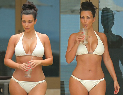 Kim Kardashian Rocks Sexy White Bikini on Second Honeymoon With Kanye Westin Mexico [Photos]