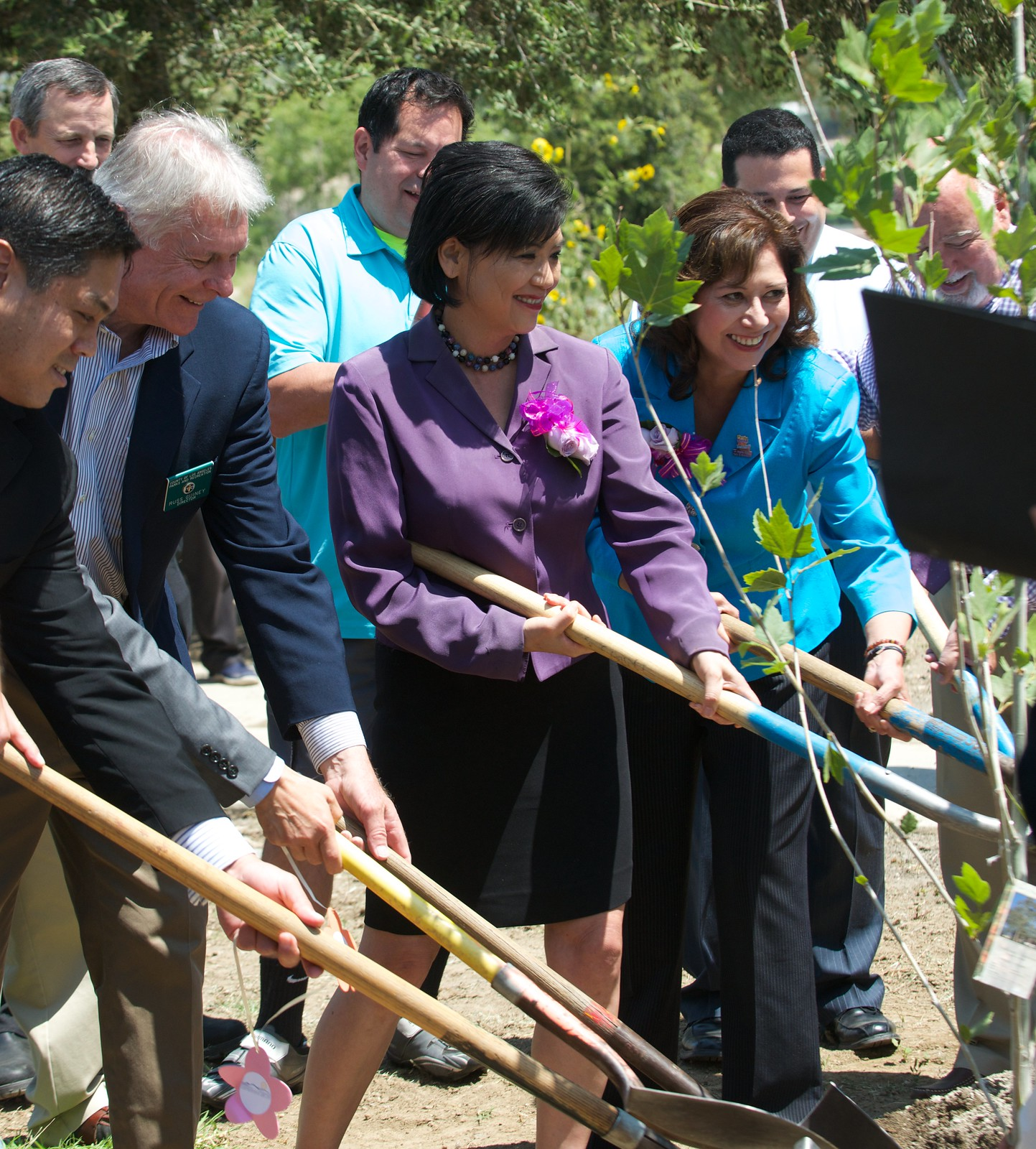 San Gabriel Mountains Forever Environmental and Health Justice for All. Tree planting celebration Congresswoman Judy Chu with County Supervisor Hilda Solis.
